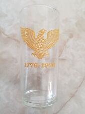 VINTAGE BICENTENNIAL 1776-1976 TALL DRINKING GLASS RAISED YELLOW MARKINGS