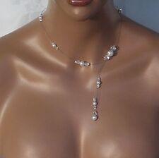Collier pp blanc et cristal. Bijoux mariage.