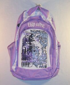 NEW WITH TAGS! FLIP SIDE LAVENDER & WHITE GIRL'S SCHOOL BACKPACK!