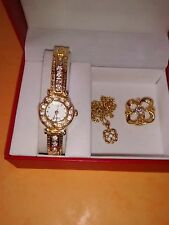 Matching Set  – Ladies Gold Colour Watch, Chain/Pendent, Broach