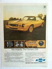 1978 CHEVY CAMARO Z28 HIS MAJESTY 350 4-BARREL YELLOW V8 ORIGINAL GM AD