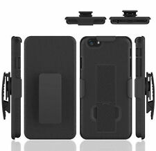 For iPhone 6 4.7 Rugged Dual Holster Hard Case with Fold Stand Belt Clip - Black