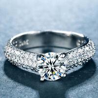 Elegant 925 Silver Women's Wedding Rings Round Cut White Sapphire Size6-10