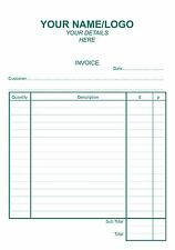 PERSONALISED A5 DUPLICATE INVOICE ORDER QUOTE BOOK IN 50'/ GREEN PRINT