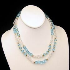 MONET Vintage Long Necklace 36 inches Pretty Aqua Blue Glass Beads Faux Crystals