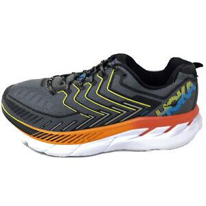 Hoka One One Mens Clifton 4 Gray Orange Road Running Shoes Sneakers Sz 9 M