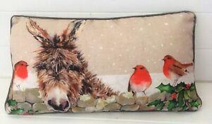Cotton Linen Blend Donkey & Robin in Snow Winter Xmas Cushion & Inner 45x25cm