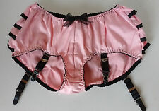 "Pink Ruffled Retro Pin Up Garter Panties Frilly Burlesque Knickers S 35/36""H"