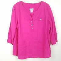 SOFT SURROUNDINGS Women's size L Tunic Top 3/4 Sleeve Hot Pink Linen Split Neck