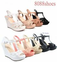 Women's T-Strap Open Toe Strappy Slingback Wedge Platform Sandal Size 5 - 10 NEW