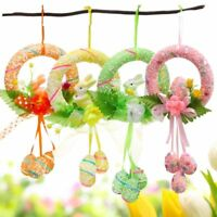 New Festival Music Easter Decorated Wreath Rabbit Egg Door Hanging Pendant Props