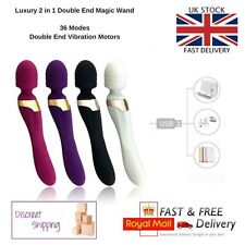 Magic Wand 2 in 1 Massager Waterproof 36 Vibration Mode USB Rechargeable RoseRed