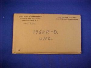 """1960 us mint """"silver"""" P&D uncirculated mint set  (with original mint packing)"""