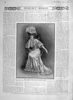 Original Old Antique Print 1907 Portrait Woman Fashion Kimono Gown 20th Century