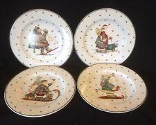 Sakura Debbie Mumm SLEDDING CHARACTERS 4 Salad Plates Bear Snowman Santa Dog