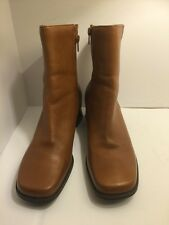 women's NATURALIZER side zip anckle boots honey brown leather size 9.5 M