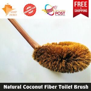 Toilet Brush Natural Coconut Fiber Modern Head Long plastic Handle Eco Friendly