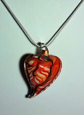 Lampwork glass with Multi Red&White Heart Design on 925 Sterling Silver Necklace