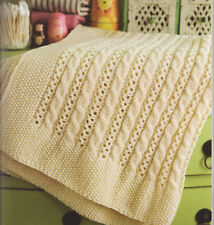 Cable & Lace Baby Blanket ~  Pram or Cot  Size ~ Aran Wool Knitting Pattern