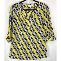 Banana Republic blue yellow silk print 3/4 sleeve blouse top S