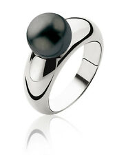 Zinzi Silver Ring with Black Swarovski Crystal Pearl R456Z