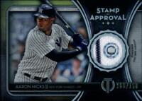 2020 Topps Tribute Stamp of Approval Relic Patch Aaron Hicks 108/150 Yankees