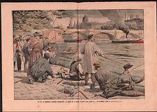 Anglers Paris Parisiens Pêcheurs à la Ligne Bord de Seine  1905 ILLUSTRATION