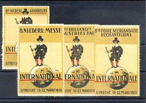 NETHERLANDS 4 x DIF. - POSTER STAMP = JAARBEURS 1923 = UTRECHT - (*) F/VF