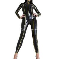 100% Latex Rubber Catsuit Bodysuit Suit Black and Yellow Size XXS-XXL
