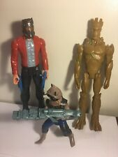 """12"""" Guardians Of The Galaxy Rocket Raccoon Groot Star-Lord Figures Weapons Lot"""