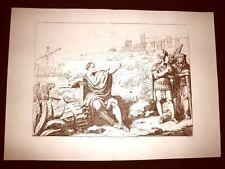 Litografia Caio Mario tra le rovine Cartagine Istoria Romana Bartolomeo Pinelli