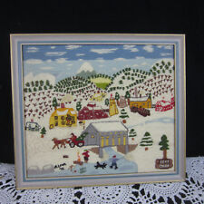 Vtg Handmade Framed Crewel Sampler Bear Creek Colorado Farm Town Scene 13 x 11
