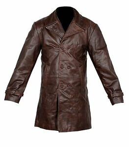 VINTAGE MEN BROWN DISTRESSED COW HIDE 100% REAL LEATHER LONG TRENCH COAT JACKET