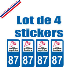 4 STICKERS PLAQUE AUTO IMMATRICULATION DEPARTEMENT 87 logo AQUITAINE Lion Rouge