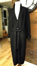 JESSICA HOLBROOK 100% Wool Long Black Cardigan Sweater Jacket Coat Knit S Small