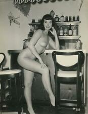 Original c.1950's Betty Page Fully Nude Leaning on Bar Photograph by Irving Klaw