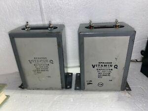 2 SPRAGUE VITAMIN Q CAPACITORS 15uF 150VAC 800 Hz