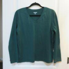 Lands End Women Long Sleeve T shirt 100% Cotton Hunter Green Petite M
