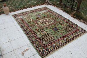 "Vintage Handmade Turkish Oushak Office Area Rug 85""x64"", 215x161cm"