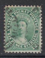 "Canada Scott #18  12 1/2 cent Queen Victoria yellow green ""First Cents""  F"