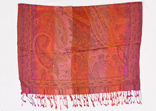 Orange and Pink  Jamavar Scarf with Paisley Motives and Fringes
