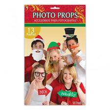 13 PIECE CHRISTMAS PARTY PROPS PHOTO BOOTH PHOTO PROP KIT FUN Accessory