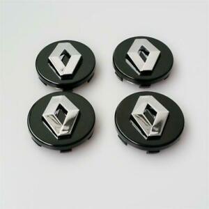 """3D 4x 57mm 2.24"""" Black Wheel Center Caps Fit Renault Megane Laguna Clio Twingo"""