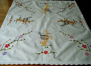 Antique Easter linen tablecloth bunny w/ basket eggs hand emb/ed from Germany