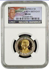 South Africa 5 Rand 2008, NGC MS66, Nelson Mandela 90th Birthday *FREE SHIPPING*