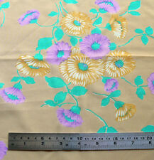 Vintage Purple Green Brown Polyester Floral Print Fabric in 2 pieces, about 1m2