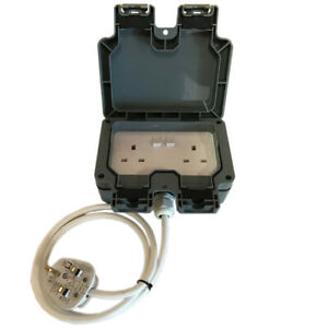 Outdoor IP66 Garden Extension Lead Socket Box IP66 Rated 1m to 25m White Cable