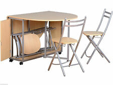 Seconique Butterfly Dining Set in Beech & Silver - Folding Table & 4 Chairs