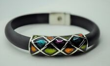 B397 Elegant design Multi Enameled color  Flat Rubber fashion bracelet