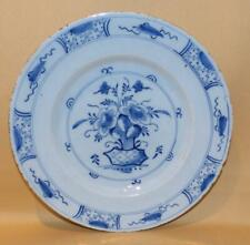 ENGLISH DELFT HANDPAINTED BLUE & WHITE VASE OF FLOWERS PLATE 2 C1760